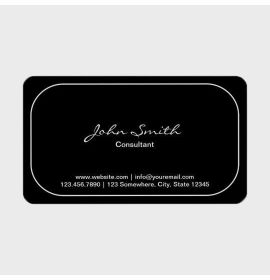 Plain Round Corner Consultant Dark Business Card